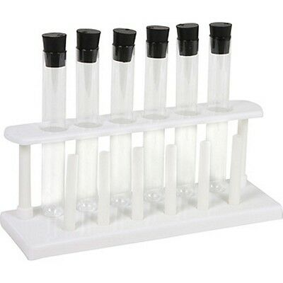 6 Piece 20 x 150 mm Glass Test Tube Set with Rubber Stoppers and Rack