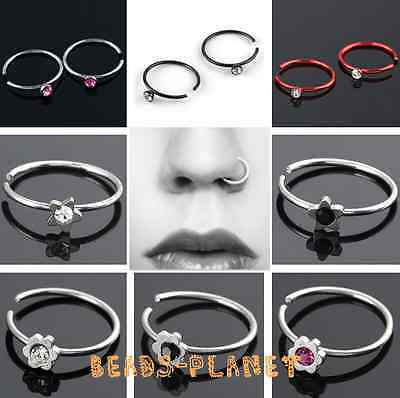 10/50/100pc Steel Crystal Fake Nose Stud Lip Ring Hoop Cartilage Non Piercing