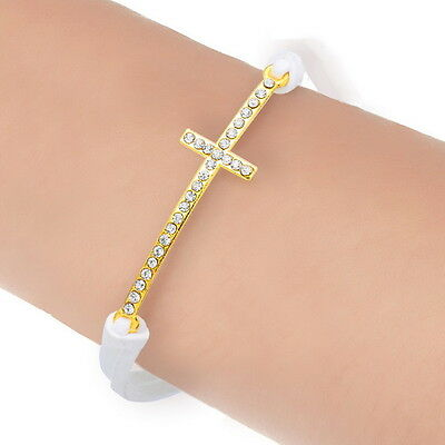 1PC New Cross Gold Plated White Cute Korea Velvet Bracelet 21cm