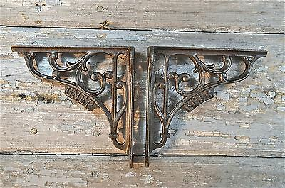 Pair Of Gner Railway Train Cast Iron Shelf Brackets Shelving Shelves Retro