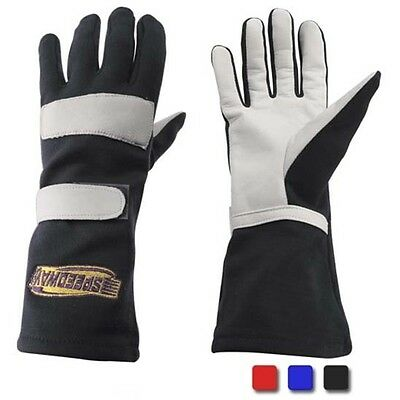Speedway Nomex Racing Driving Gloves, Single Layer, Black, Size Large