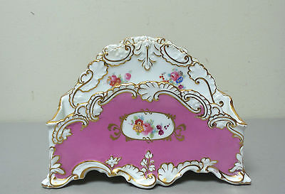 GORGEOUS ANTIQUE SPODE PORCELAIN DOUBLE LETTER HOLDER, PINK with GOLD TRIM