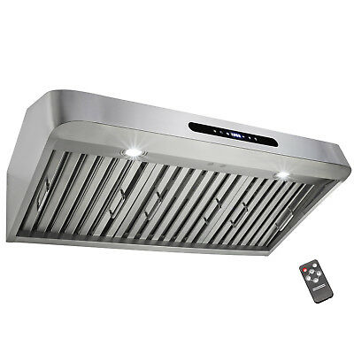 "36"" Island Mount Stainless Steel Range Hood Kitchen Noisy Reduction Touch Panel"
