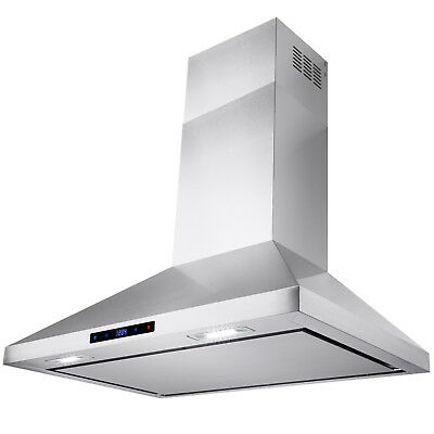 """30"""" Kitchen Stainless Steel Wall Mount Range Hood Touch Screen Display"""