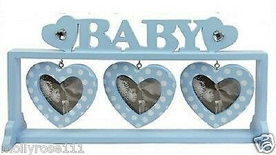 Baby Boy Blue Free Standing Wooden 3 Love Heart  Picture Photo Frame