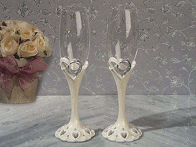 Two Hearts Become One Wedding Toasting Flutes Set Wedding Rings Toast Glasses