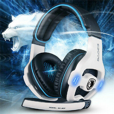 Sades SA903 7.1 Surround Sound USB Headband Pro Gaming Headset For PC Laptop
