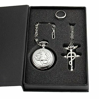 Cosplay Full Metal Alchemist Edward Elric Pocket Watch Cross Snake Necklace and