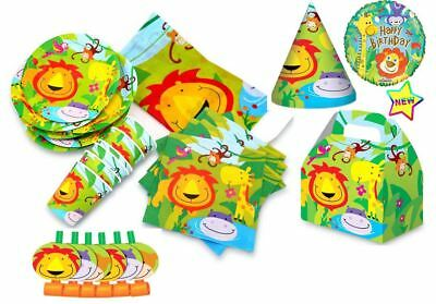 Kids Jungle Party Birthday Invites Bowls Pennants Hats Theme Serving Decoration