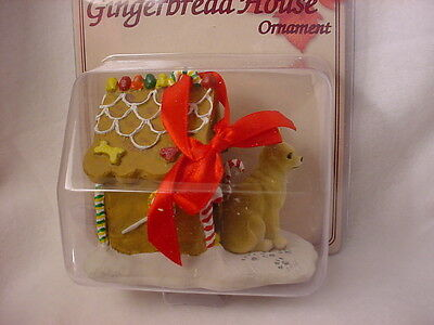 CHIHUAHUA GINGERBREAD DOG HOUSE Christmas ORNAMENT Tan Brown Puppy FIGURINE NEW