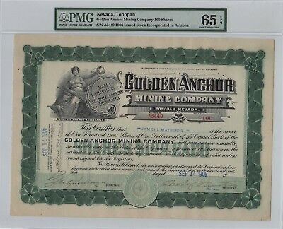 Golden Anchor Mining Co. Stock Certificate - Nevada PMG graded 65 EPQ