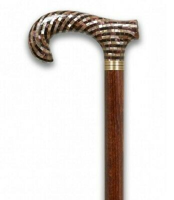Derby Shell Handle Walking Stick Brown Beech Wood Shaft New Design Wooden Cane