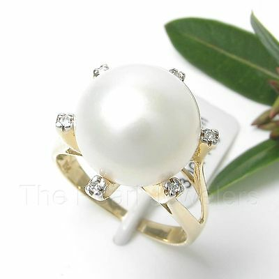 14k Yellow Gold AAA 11.5-12mm White Cultured Pearl & Diamond Cocktail Ring TPJ