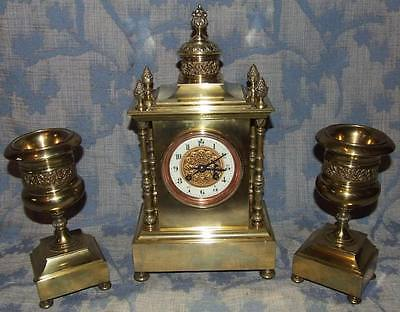Stunning French Antique Cast Brass Bracket / Mantel Clock Garniture Set (67)