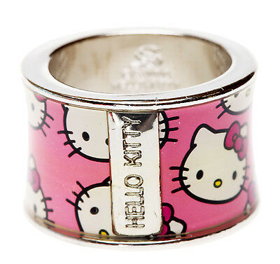SANRIO - HELLO KITTY WIDE 14mm PINK BAND PATTERN RING sz 6 - boxed