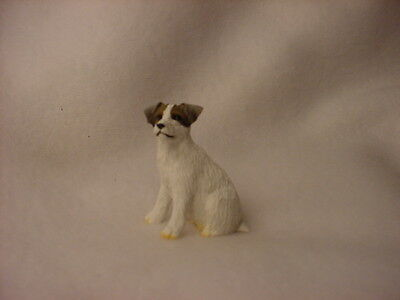 JACK RUSSELL rough dog TiNY FIGURINE brown white puppy MINIATURE mini statue NEW
