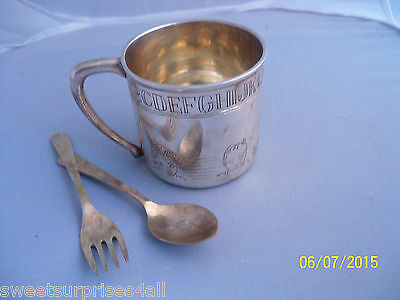 vintage shabby  baby feeding chic set alphabet cup mug spoon fork silverplate?