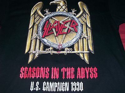 Slayer U.S. Campaign 1990 M Medium Black T-Shirt Seasons in the Abyss Tour Eagle