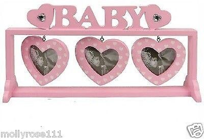 Wooden Baby Girl Free Standing Wooden 3 Hearts Picture Photo Frame Newborn Gift