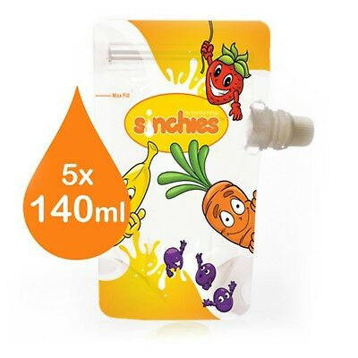 NEW Sinchies 140ml Reusable FUN Food Pouches BPA Free Pack of 5 Bonus 1lt Pouch