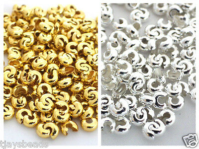 100 x Silver or Gold Crimp Bead Covers 4mm