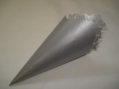 20 X Confetti Cones Silver Pearly Butterflies