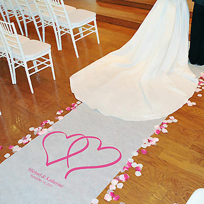 New Personalized Colored Double Heart Aisle Runner 100'