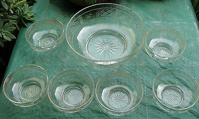 Stunning Early 7 Piece Cut Glass Sweets Set