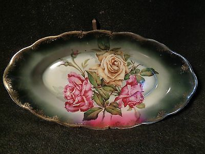 ANTIQUE hand painted C.S. PRUSSIA Oval PLATTER DISH wall hanger