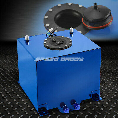 5 Gallon Blue Polished Aluminum Racing/drifting Fuel Cell Gas Tank+Level Sender