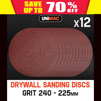 NEW Unimac 12x240 Grit Hook & Loop Plaster Sanding Discs  Drywall Sander- 225mm