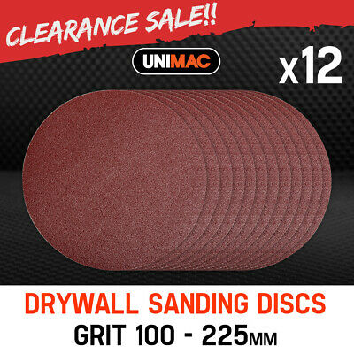 NEW Unimac 100 Grit - 12x Hook & Loop Plaster Sanding Discs Drywall Sander 225mm