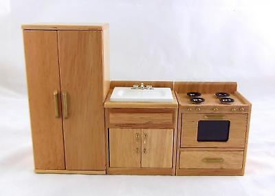 Dolls House Miniature 1:12 Oak Kitchen Furniture Set Sink Cooker Fridge Freezer