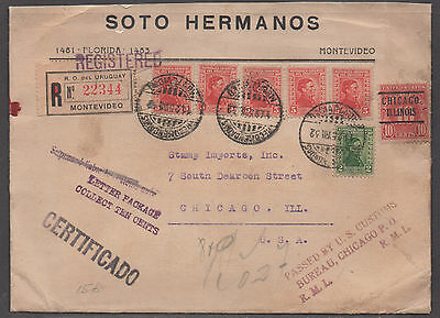 *Uruguay Registered Cover SC# 353x5,356 + 10c US Postage Due To Chicago, USA