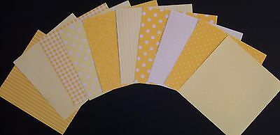 """Shades of YELLOW Scrapbooking/Cardmaking Papers ~15cm x 15cm ~ (6"""" X 6"""")"""