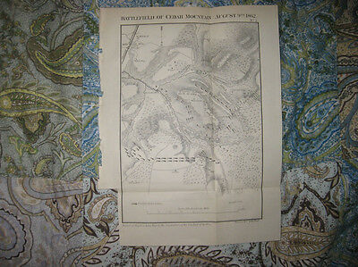 Antique 1866 Battle Of Cedar Mountain Culpeper County Virginia Civil War Map Nr