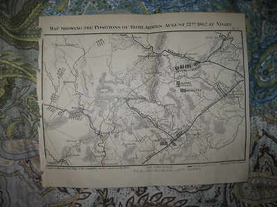Antique 1866 Second Battle Of Bull Run Manassas Virginia Civil War Map At Night