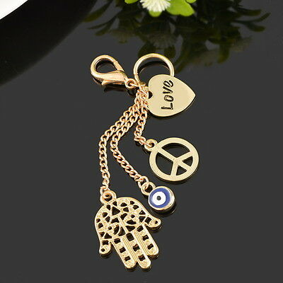 Charms Glass Evil Eye Gold Pendant Fatima Hand Peace Symbol Key Chain