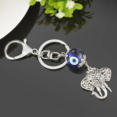 Charms Glass Evil Eye Silver Pendant Elephant Animal Key Ring Chain