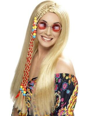 Blonde 1960's Groovy Hippy Party Wig Adult Womens Smiffys Fancy Dress Costume