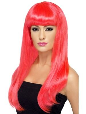 Neon Pink Babelicious Wig Long Straight Adult Womens Smiffys Fancy Dress Costume