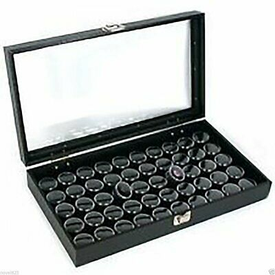 NEW 50 Black Gem Jars in Glass Top Jewelry Display Case