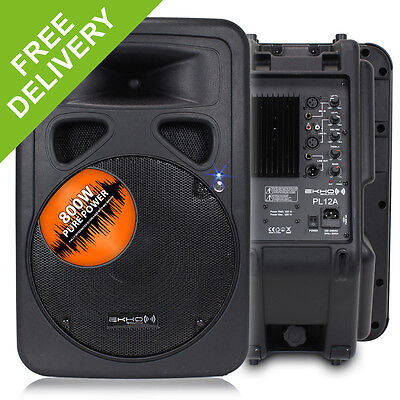 2x Ekho PL12A Portable DJ PA Party Active Sound System Speakers + Cables 1200W