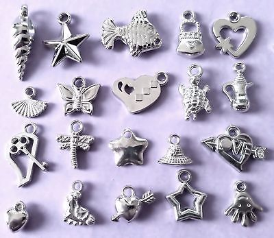 Bulk Lot of 100 Mixed Acrylic Silver Colour Charm Pendants New Free Post