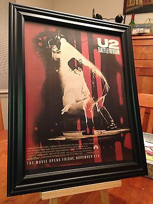 "BIG 10x13 FRAMED U2 ""RATTLE AND HUM"" LP ALBUM CD MOVIE PROMO AD + free bonus!"