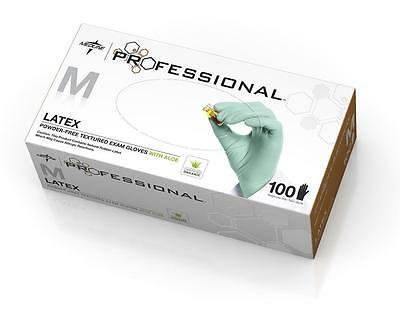 box of 100 in XS or M, Medline Professional Textured Latex Exam Gloves Aloe