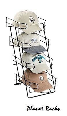 Planet Racks 4 Tier Wire Baseball Cap Counter Display Rack