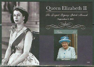 Palau 2015 Queen Elizabeth The Longest Reigning British  Monarch S/s  Mint Nh