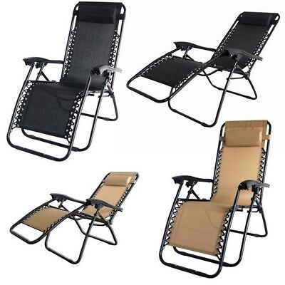 2x Palm Springs Zero Gravity Chairs Lounge/Outdoor Yard Patio Chairs Beach Tan