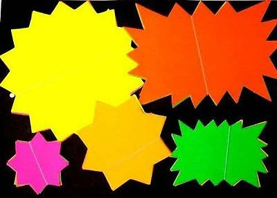 50 x High visibility Neon Fluorescent Card Stars School Display Market Stalls
